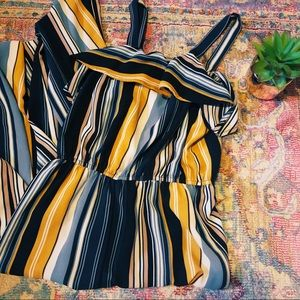Striped Jumpsuit ☆ Sleeveless Navy Blue & Yellow
